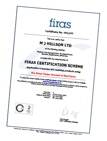 FIRAS fire safety certificate for MJ Hillson